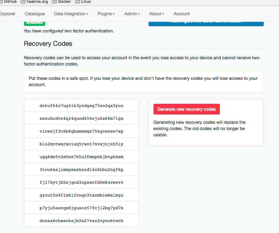 two-factor authentication recoverycodes
